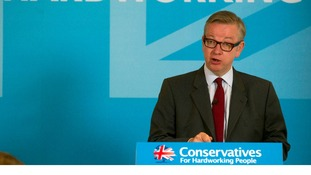 Education Secretary Michael Gove gives a speech at Conservative Campaign Headquarters in central London.