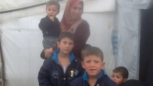 A Syrian family in a refugee camp, Lebanon