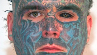 The 34-year-old has nearly every part of his body tattooed.