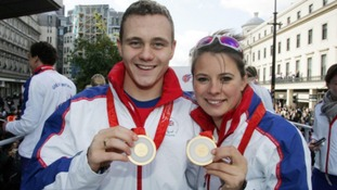 Sam Hynd and Liz Johnson during the Team GB Olympic Parade in London