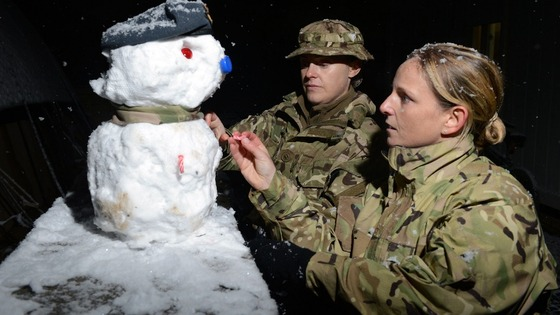 UK service men and women took the opportunity to build a snow soldier in the snow.