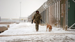 Snow lies on the ground in Camp Bastion, where 3,000 UK forces are operating.