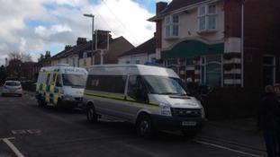 Police vans near the Gordon Arms in Fareham