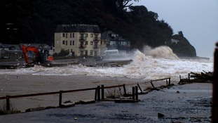 Images of flooding at Seaton, Cornwall