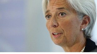 The International Monetary Fund managing director Christine Lagarde during a press briefing with the Chancellor