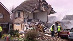 Two houses were 'flattened' by the blast.