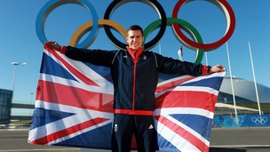 Team GB flag bearer, Jon Eley, in Sochi