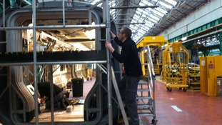 Work continues at the Bombardier factory in Derby today