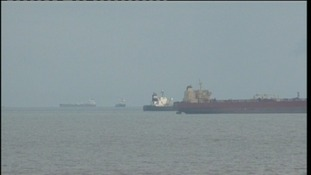 Oil tankers off the Suffolk coast