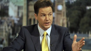 Britain's Deputy Prime Minister, Nick Clegg, is seen appearing on the Andrew Marr Show