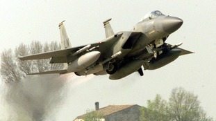 A U.S. F15 takes off from the air base of Cervia in the northern Italy in this April 2, 1999