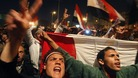 Opposition supporters shout in their stronghold of Tahrir Square, in Cairo