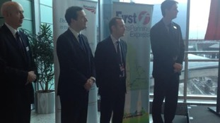 Chancellor George Osborne at Manchester Airport.