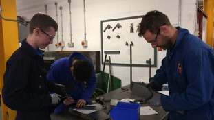 Young engineering students at Derby college