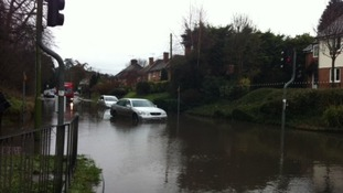Stansted Road, in Bishop's Stortford this morning.