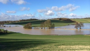 Fields were submerged just outside Cold Christmas, Hertfordshire.