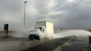 Portland Beach Road near Weymouth in Dorset saw strong winds and high tides push water inland earlier this week.