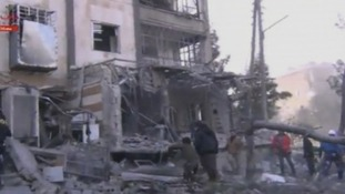 The remains of Aleppo prison after the believed suicide bomb attack