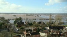Flooded Somerset village of Moorland is almost empty after residents were evacuated.