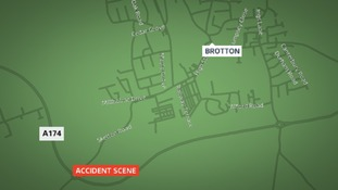 The A174 was closed after crash near Satlburn on Friday evening.