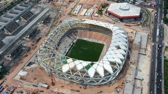 The Arena da Amazonia stadium in Manaus, Brazil, pictured during construction in December 2013