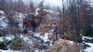 The rock which caused the derailment of a tourist train in Annot in the French Alps.