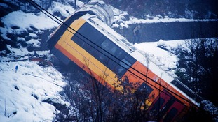 The train was left dangling for hours after being derailed