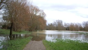 The River Linnet bursting its banks in Bury St Edmunds, Suffolk