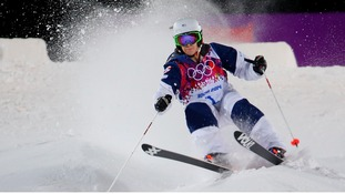 Hannah Kearney of the US competes during the women's freestyle skiing moguls final