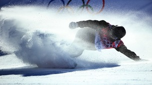 Finland's snowboarder Peetu Piiroinen competes in the men's snowboarding slopestyle final