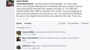 "A Facebook post criticising ""flood tourists"" on the Flooding on the Levels Action Group (FLAG)."