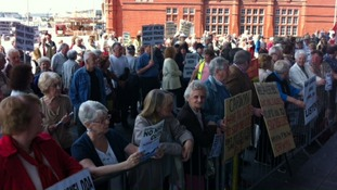 People protesting outside the Senedd