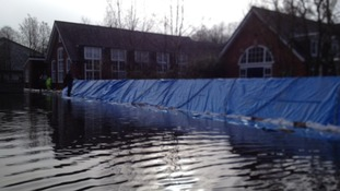 Flood barriers, St Bede's, Winchester