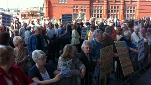 Protesters outside the Senedd