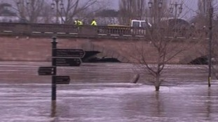 The swollen River Severn in Worcester