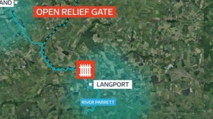 The relief gate will then funnel the water through on the River Parrett, near Langford.