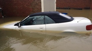 A flooded car in Wraysbury, Berksjire