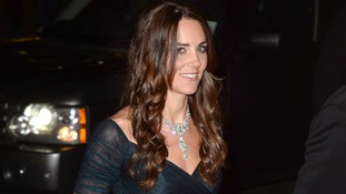The Duchess wore a dazzling diamond necklace loaned by the Queen.