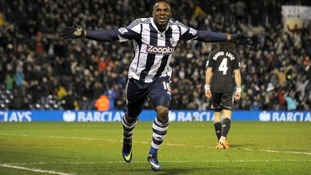 West Brom striker Victor Anichebe celebrates his late equaliser