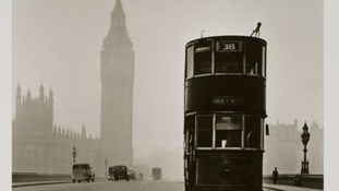 Tram on Westminster Bridge. 1949.