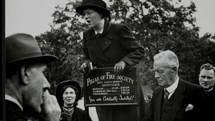 Woman speaking in Hyde Park, London. 1953.