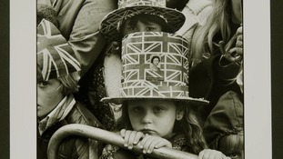Two girls wear Union Jack hats in 1977