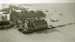 A church is surrounded by flood water in the area of Foulness in the Thames Estuary.