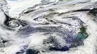 Yesterday three swirling weather systems could be seen heading to the UK across the Atlantic.