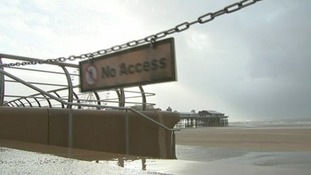 Blackpool beach has been closed due to the severe weather.