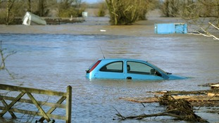A car in the floodwater at Burrowbridge, Somerset.