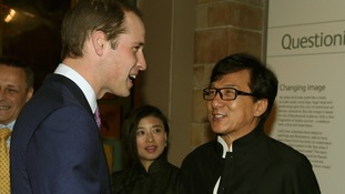 The Duke of Cambridge meets actor Jackie Chan.