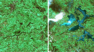 The images are from disaster monitoring satellite UK-DMC2, activated through the 'Space and Major Disasters' charter.