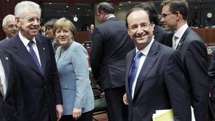 Prime Minister of Finland Jyrki Katainen with Angela Merkel and Francois Hollande