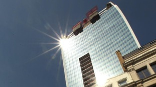 The sun reflects off the 'Walkie Talkie' building on Fenchurch Street
